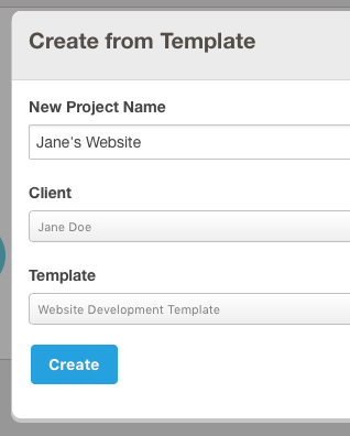 Screenshot of the 'Create From Template' Form