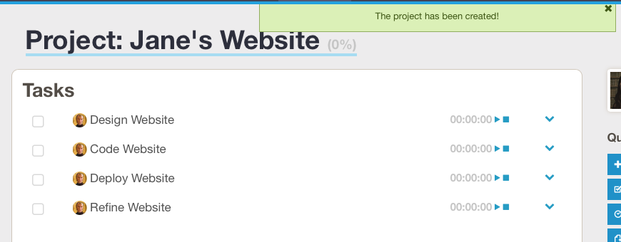 Screenshot of the new project's page, after submitting the 'Create From Template' form