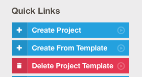 Screenshot of the 'Delete Project Template' button in Quick Links