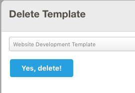Screenshot of the 'Delete Project Template' form